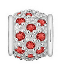 LOVELINKS BY PASTICHE  SPACER LINK SILVER & RED CUBIC ZIRCONIA  MINT TT214RD