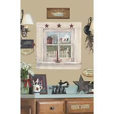 OUTHOUSE WINDOW & SIGNS MURAL wall stickers 9 decals Bathroom stickups Country