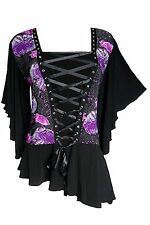 Dare to Wear Alchemy Butterfly Sleeve Corset Top Violet Poppy Size 4X