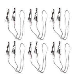 6x Stainless steel Flexible Dental Bib Clips Napkin Holder Ball Chain Dentist lq
