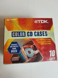 TDK Color CD 10 Cases Sealed New NIP Compact Discs Colored Organize