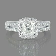1 CT HALO DIAMOND ENGAGEMENT RING PRINCESS CUT H/VS 14K WHITE GOLD ENHANCED