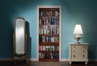 Door Mural Bookcase Book Case Library View Wall Stickers Decal Wallpaper 322