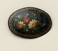 Vintage Russian Lacquer  Floral artist signed Brooch
