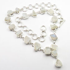 925 Silver Necklace 18.1 Inches, Natural RAINBOW MOONSTONE 3.4 CM Pendant Length