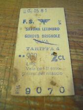BIGLIETTO TRENO CARTONATO 1981 SAVONA LETIMBRO - GENOVA BRIGNOLE - CEVA 4-230/1