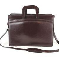"""Leather Bag Tablet Briefcase Burgundy Business Case Shoulder 17x12x6"""""""