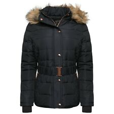 Womens Ladies Quilted Winter Coat Puffer Fur Collar Hooded Jacket Parka