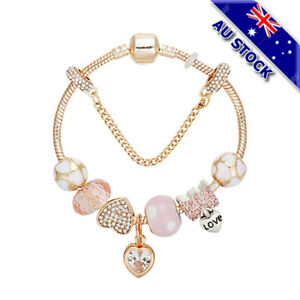 Gold Plated Bohemian Pink Beads Love Heart Crystal Bracelet Ladies Bangle Gift