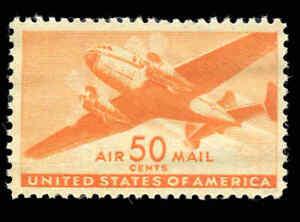 US Air Mail Sc# C31 - MNH - 50¢ Orange Top Value Key Stamp  NH CV $11.00