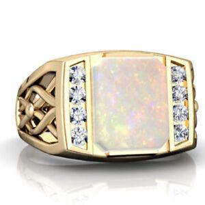 14K Solid Yellow Gold Natural Ethiopian Opal & Diamond Gemstone Men's Ring