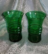 2 Beautiful Small Clear Green Glass Flower Vases Ribbed Circles in Center