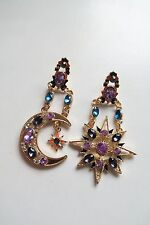 Brand new large statement gold ethnic boho moon star diamante gem drop earrings