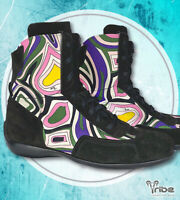 EMILIO PUCCI xSabelt Racing Italian Suede High-Top Sneakers, Rare Athletic Shoes