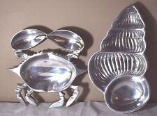 Pair of Polished Cast Aluminum Nautical Serving Dishes - Crab & Conch Shell