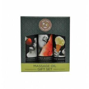 Massage Oil Gift Set Earthly Body Edible White 3 Pack Strawberry, Vanilla Melon