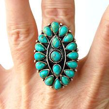 R975  Splendide Grande  Bague Style Amérindien Argent Massif 925  Turquoise t57