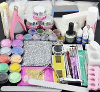 Pro Nail Art Acrylic Powder Premier Liquid Tips File Brush Full Tools Set 999