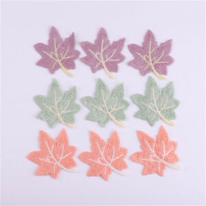 10-pack Sewing On Patch Fabric Maple For Clothes Embroidered Leaf Decoration