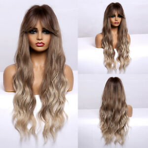 fashion long wavy ombre Wig synthetic hair party costume wig for women