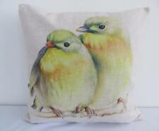 Watercolour Painting Colourful Pair of Birds Linen Look Cushion Cover 45cm