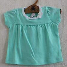 Neuf : Tee-shirt PETIT BATEAU 3 mois vert d'eau petit noeud pour bébé fille