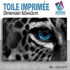 60x40cm -TOILE IMPRIMÉE - TABLEAU  POSTER DECO - LEOPARD SAVANE FELIN - LEO2-01T
