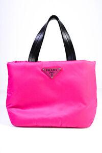 Prada Tessuto Nylon Adjustable Strap Zip Small Tote Handbag Pink Black