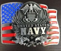 Belt Buckle NAVY ARMY  SILVER USA UNITED STATES MEN WOMEN HIGH QUALITY