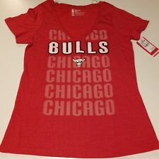 B93 NBA Chicago Bulls Womens Short Sleeve W/ Sheer Polka Dots TShirt Size LARGE