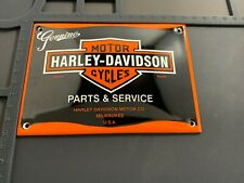 Retro Harley Davidson Service Enamel Metal Garage Shop Wall Plaque Sign Tile