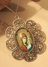 Petal Rim Silvertone Red Accented Mary the Madonna with Christ Pendant Necklace
