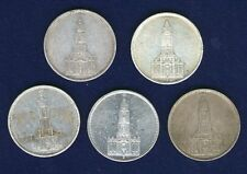 GERMANY THIRD REICH  1934-A-F-G-J, 1935-A  5 REICHSMARK SILVER COINS, LOT OF (5)