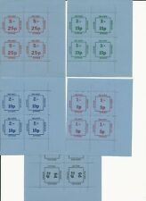 Great Britain - 1971 Postal Strike 5 different blocks of 4 Inland Letter Service