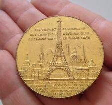 médaille Souvenir de mon ascension au sommet de la Tour Eiffel 1889, cuivre