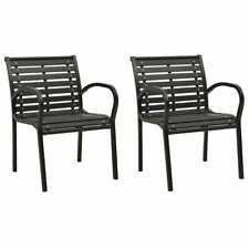 2x Garden Chairs Grey Wood Outdoor Patio Seating Furniture Armchair