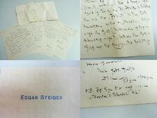 Schriftsteller Edgar STEIGER (1858-1919): 5 Briefe 1910-19 → FREKSA & M. Beutler