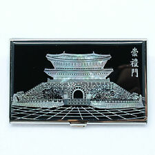Monochromatic color SoongRyeMun mother of pearl metal business card case