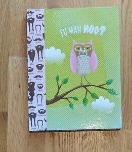 Fu Man Hoo Mustache Owl Notebook Drawing Sketch Book Pad Sketchbook Pink Green