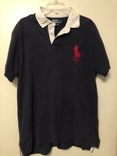 Mens Ralph Lauren Short Sleeve Rugby Poly Shirt With Large Pony. Navy. XXL