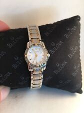 Bulova Highbridge Mini Diamond Ladies Two Tone White Dial Quartz Watch 98R155-HA