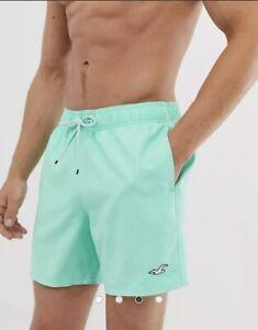 Mens Hollister Icon Logo Solid Guard Swim Shorts in Mint Size S Swim Trunks EUC
