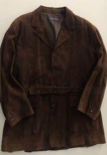 RALPH LAUREN PURPLE LABEL Mens Light Brown Goat Suede Leather Jacket Coat Sz 46