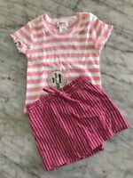 NWT Baby Girl Size 12 Months Zutano Pink Stripe Too With Stripe Skirt Shorts