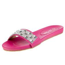 Flache Markenlose Damen-Sandalen & -Badeschuhe aus Kunstleder für den Strand