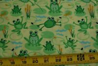 By 1/2 Yd, Green Frogs on Yellow Quilt Fabric, Timeless Treasures, N4363