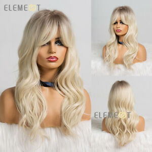 Long Brown Ombre Blonde Wig Synthetic Natural Wavy Wigs with Bangs for Women