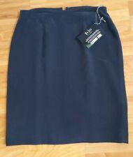 NWT Via Seta 100% Silk Black Skirt Size 6/36 Back Zip Fully-Lined Back Slit