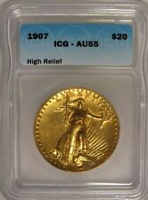 1907 St Gaudens $20 Double Eagle Gold - ICG AU55 - High Relief Coin - JY212