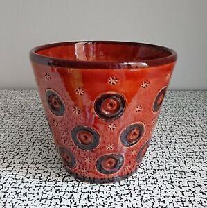 60s 70s Vintage Retro Italian Pottery Plant Pot Mid Century Modern Italy Circles